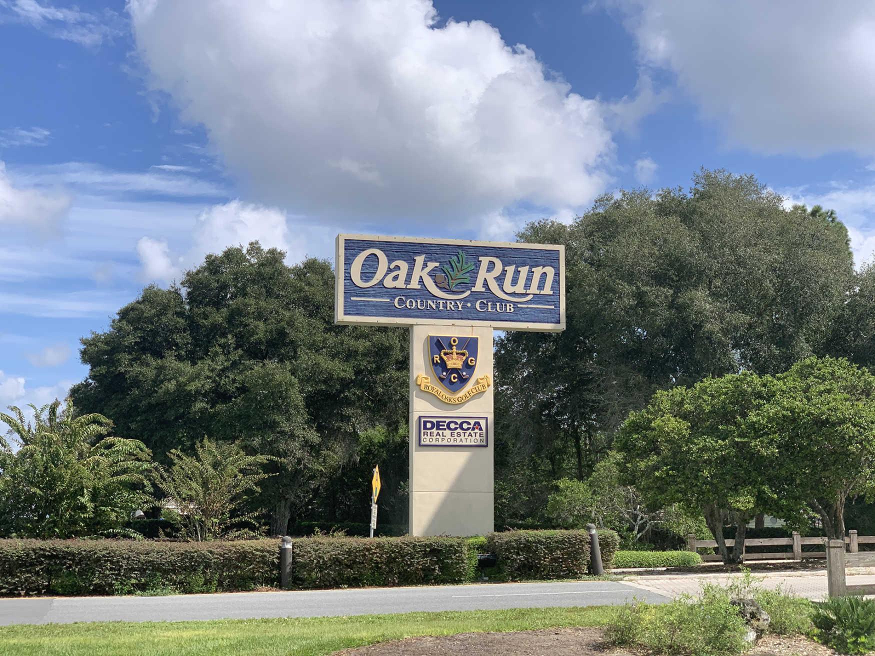 Oak Run Ocala Fl community sign